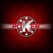 Poker illustration on a red background with card symbol and chip
