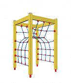 Yellow, Blue And Red Four-pole Kid Rope Climber, 3D Illustration