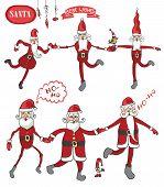 Dancing Claus set.Humorous flat figure