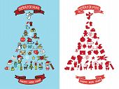 Christmas,new year doodles in spurce tree  shape