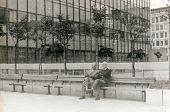 STOCKHOLM, SWEDEN, CIRCA 1966: Vintage photo of two men outdoor