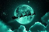 Santa Claus Flying On The Sky - Green