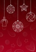 Christmas Background With Hanging Balls , Angel And Star.