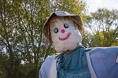 picture of scarecrow  - Scarecrow with grey hat and blue eyes - JPG