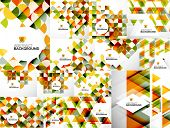 Set of Abstract Modern Flyers - brochure design templates, geometric backgrounds