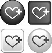 Heart Icon On Buttons Collection
