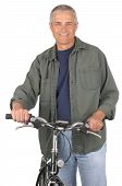 Middle Aged Man With Bicycle