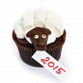 Cupcake Lamb As Simbol 2015 New Years Isolated