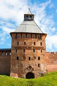 Fortress Tower Of Red Brick And Wall