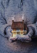 Winter cottage scene in gloved hands