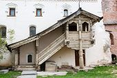 Traditional wooden porch russia