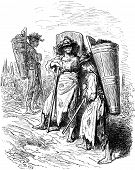 Pickers From Jerez (sherry), Vintage Engraving.