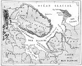 Map Of The White Sea, Vintage Engraving.