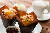 Fresh Muffins With Coffee.