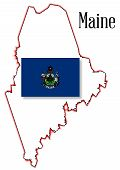 Maine State Map And Flag