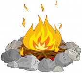 Illustration of flame into fire pit