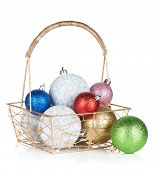 Colorful christmas baubles. Isolated on white background