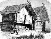 Russian House North, Vintage Engraving.