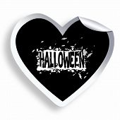 Black Heart Sticker With Halloween Grunge Text And Illustration
