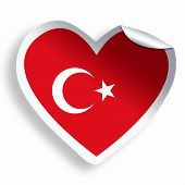 Heart Sticker With Flag Of Turkey Isolated On White