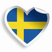 Heart Sticker With Flag Of Sweden Isolated On White