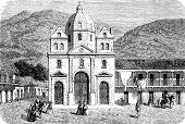 Cathedral Of Medellin, Vintage Engraving.