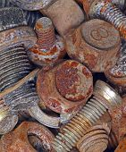 Rusty Metal Bolts. Industrial Background.
