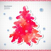 Watercolor Christmas vector illustration with a pine tree