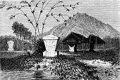 Graves Minahasa (sulawesi), Vintage Engraving.