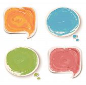 Colorful sticker speech bubbles.