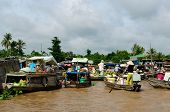 Colour Swimming Markets In Vietnam In The Mekongu Delta