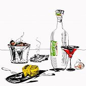 picture of table manners  - Hand drawn in simple manner illustration of the drinks fruits and cheese plate on a table - JPG