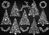 Chalkboard Style Floral or Botanical Christmas Trees, Wreaths, Bunting and Reindeer