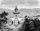 A Bridge Across The Plain, Vintage Engraving.