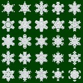 25 Snowflakes On Green Background