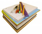 School Supplies on white with path
