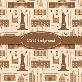 Landmarks of United States of America vector background