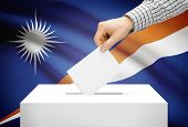 Voting Concept - Ballot Box With National Flag On Background - Marshall Islands
