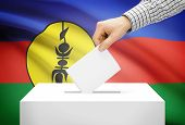 Voting Concept - Ballot Box With National Flag On Background - New Caledonia