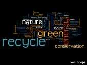 Vector eps concept or conceptual abstract green recycle ecology and conservation word cloud text on black background
