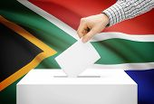 Voting Concept - Ballot Box With National Flag On Background - South Africa