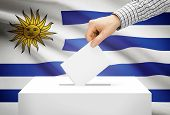 Voting Concept - Ballot Box With National Flag On Background - Uruguay