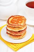 Breakfast With Curd Pancakes And Tea
