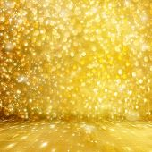 Abstract Golden Background With Effect Bokeh For Design
