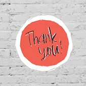 Thank You Card On White Bricks Wall. Vector