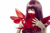 Model, Japanese manga-style women dressed in red glass armor