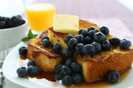 pic of french toast  - French Toast and Blueberries in breakfast setting - JPG