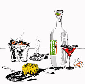 image of table manners  - Hand drawn in simple manner illustration of the drinks fruits and cheese plate on a table - JPG