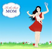image of multitasking  - Happy mothers day vector banner with Multitasking mother and new born baby - JPG