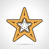 pic of echinoderms  - Flat design color vector icon for yellow starfish on white background - JPG